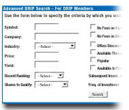 Search for DRIP Stocks